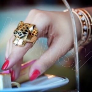Gold Toned Cheetah Leopard Ring - Flaw